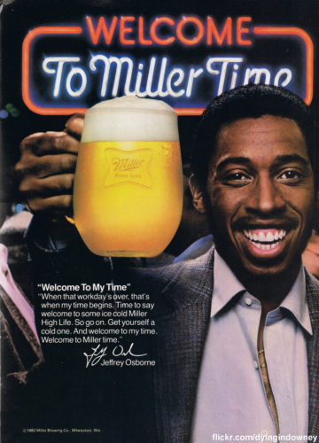 Jeffrey Osborne in classic MIller Time Bear ad. SpotifyThrowbacks.com
